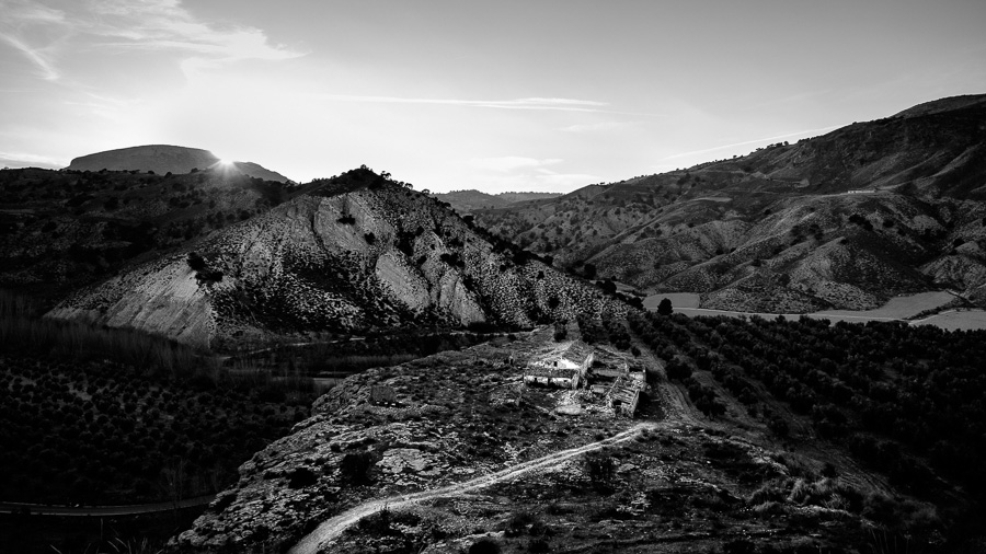 Black and white landscape photo of abandoned farmhouse taken in Gorafe, Spain
