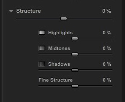 Silver Efex Pro 2 Structure sliders
