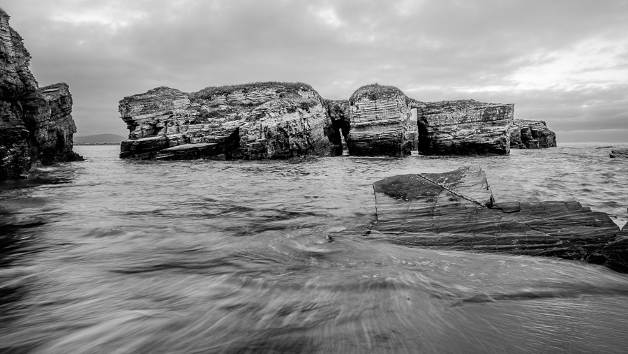 Black and white seascape taken in Galicia, Spain