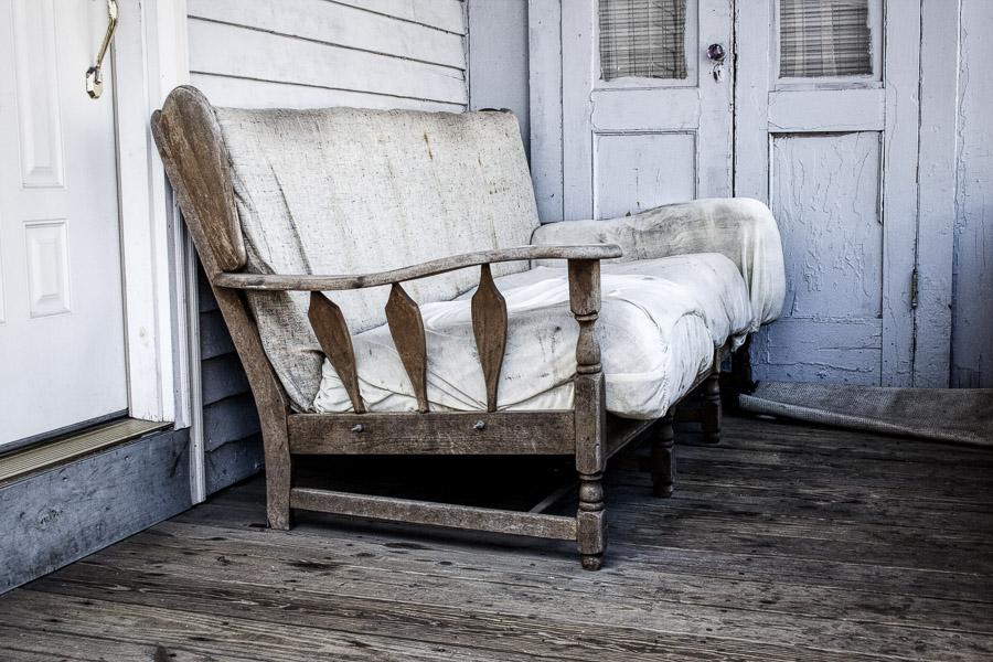 Photo of old sofa in Newport, Rhode Island, processed in Luminar