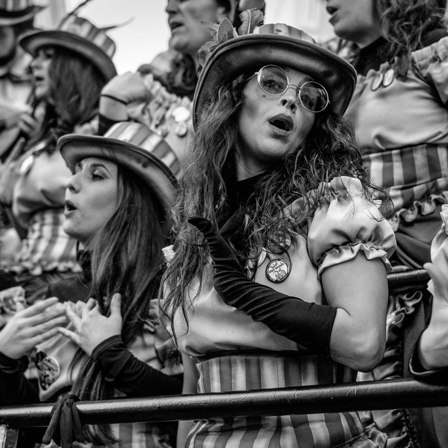 Portrait of singer at carnival in Cadiz, Spain.