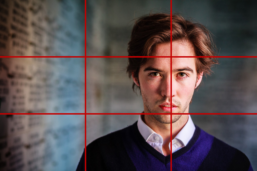 Portrait of man with negative space and rule of thirds grid