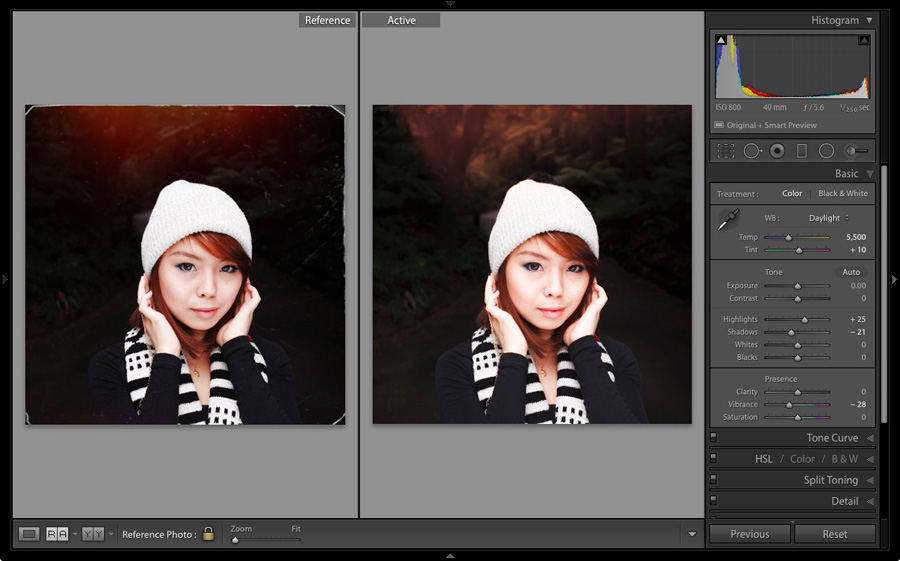 Before and After View in Lightroom Develop module