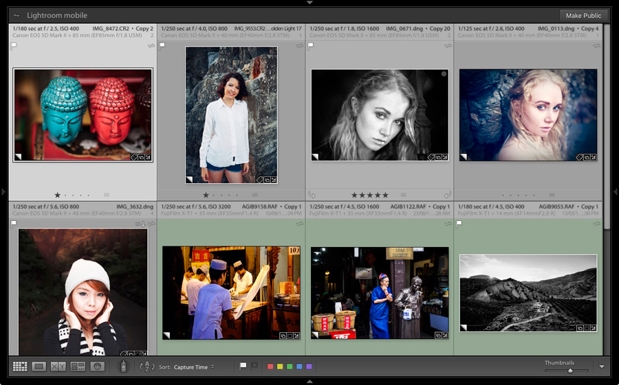 A Lightroom Collection containing photos to be shared on Instagram