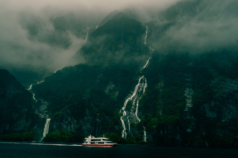Photo of boat sailing in Milford Sound New Zealand taken with Fujinon 18mm lens