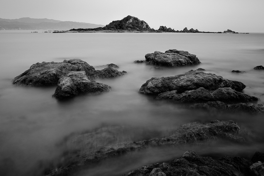 Black and white landscape photo taken in Island Bay, New Zealand