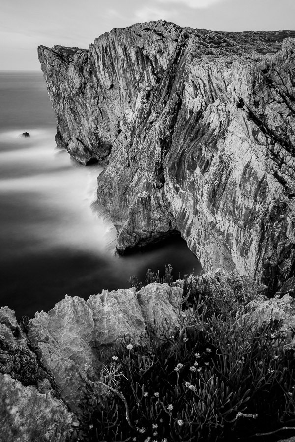 Black and white landscape photo of cliffs in Asturias, Spain