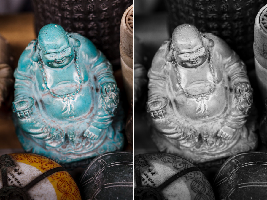 Color and black and white photo of buddha figure
