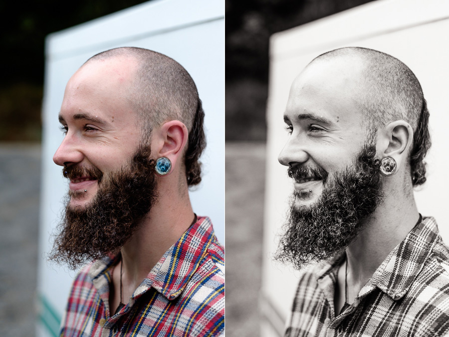 Color and black and white portraits of man with beard