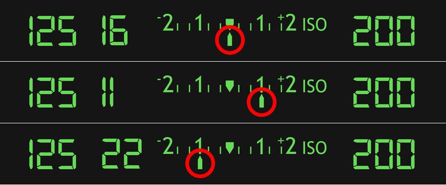 Diagrams showing exposure display in camera viewfinder
