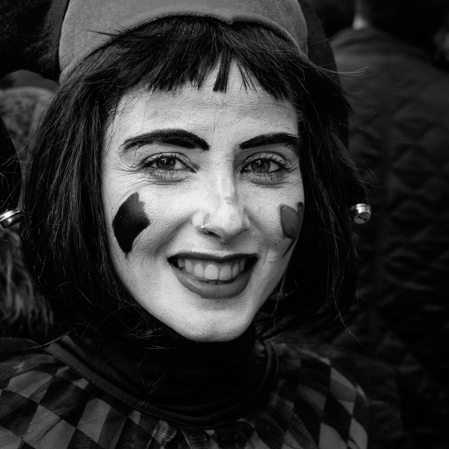 Candid portrait taken during carnival in Cadiz, Spain
