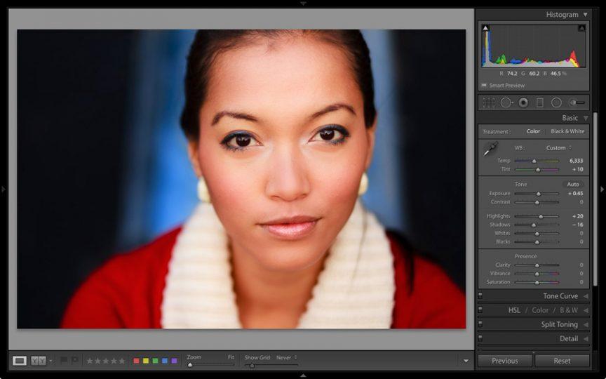 Portrait in Lightroom Develop module
