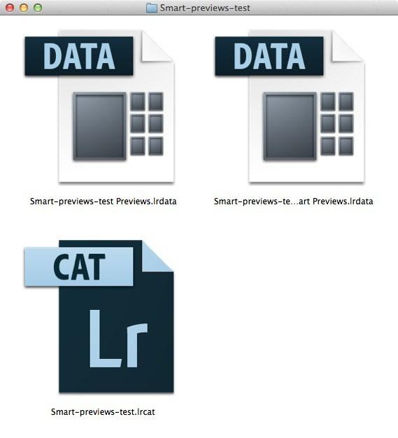 Folder showing Lightroom Catalog icons