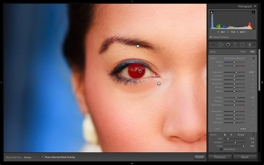Portrait in Lightroom Develop module at 1:1 magnification with Smart Preview