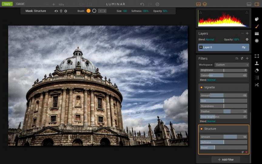 The Luminar user interface
