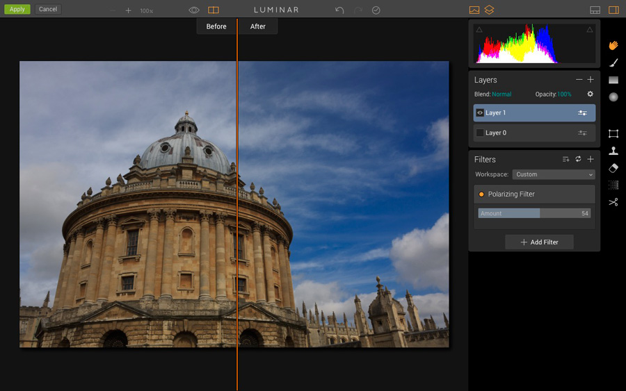 The polarizing filter in Luminar