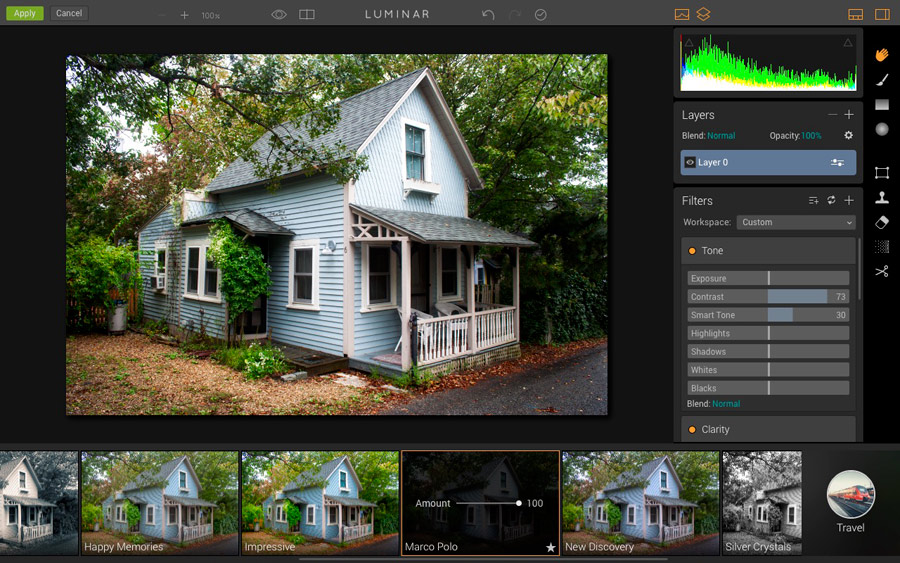Presets in Luminar plugin