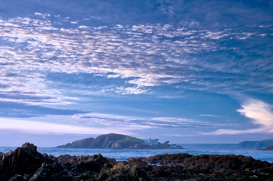 Landscape photo of Bantham Beach, Devon, processed in Luminar