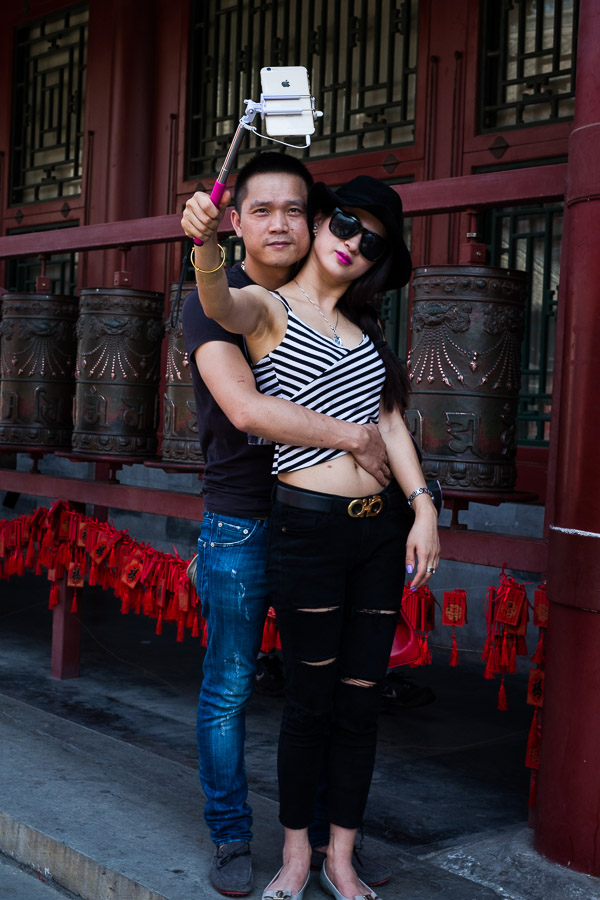 Chinese couple taking a selfie in Prince Gong's mansion, Beijing, China