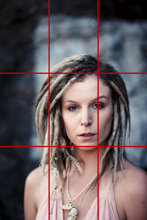 Portrait of woman with dreadlocks and rule of thirds grid