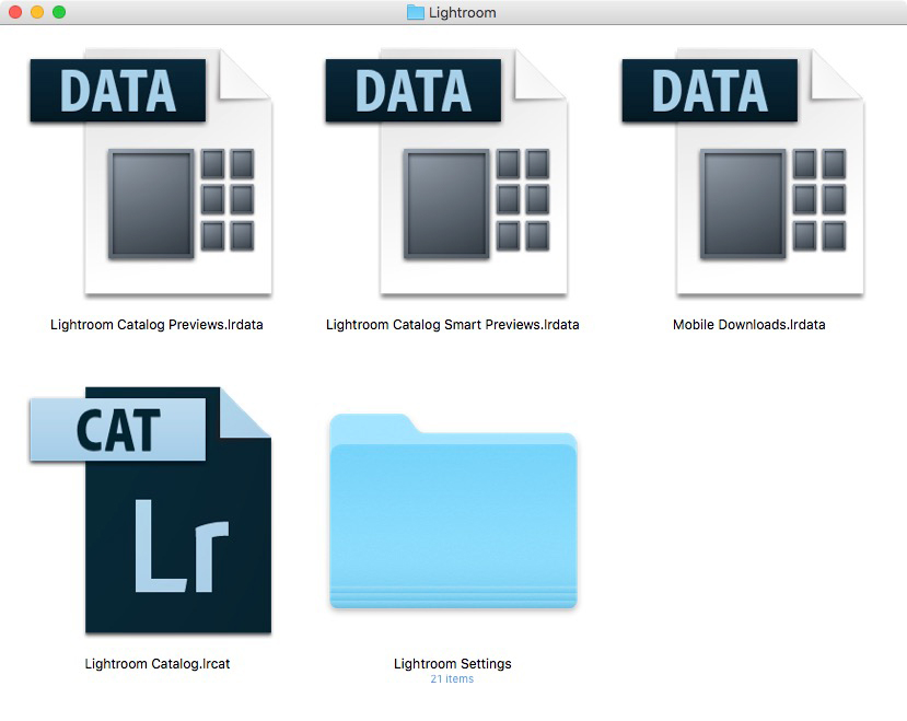 Folder showing Lightroom Catalog files