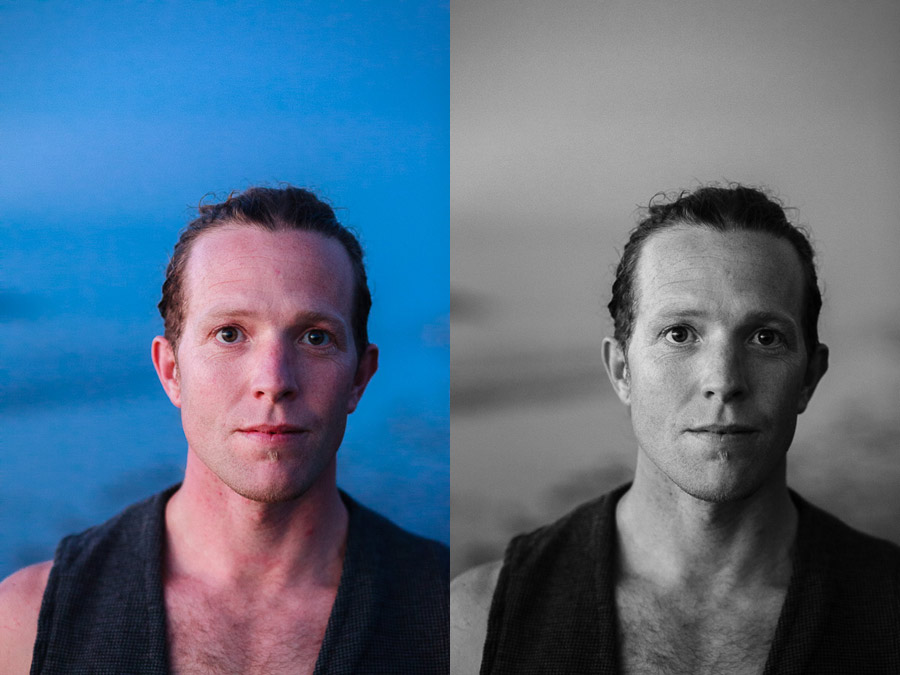 Moody portraits, one in color, the other in black and white