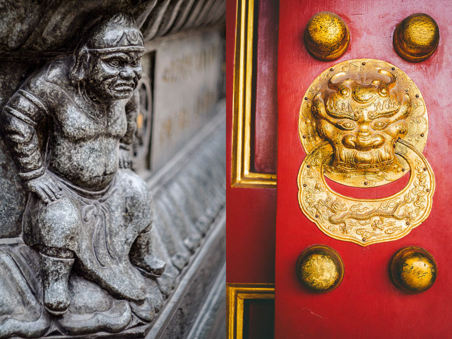 Moody photo of details of Chinese buildings