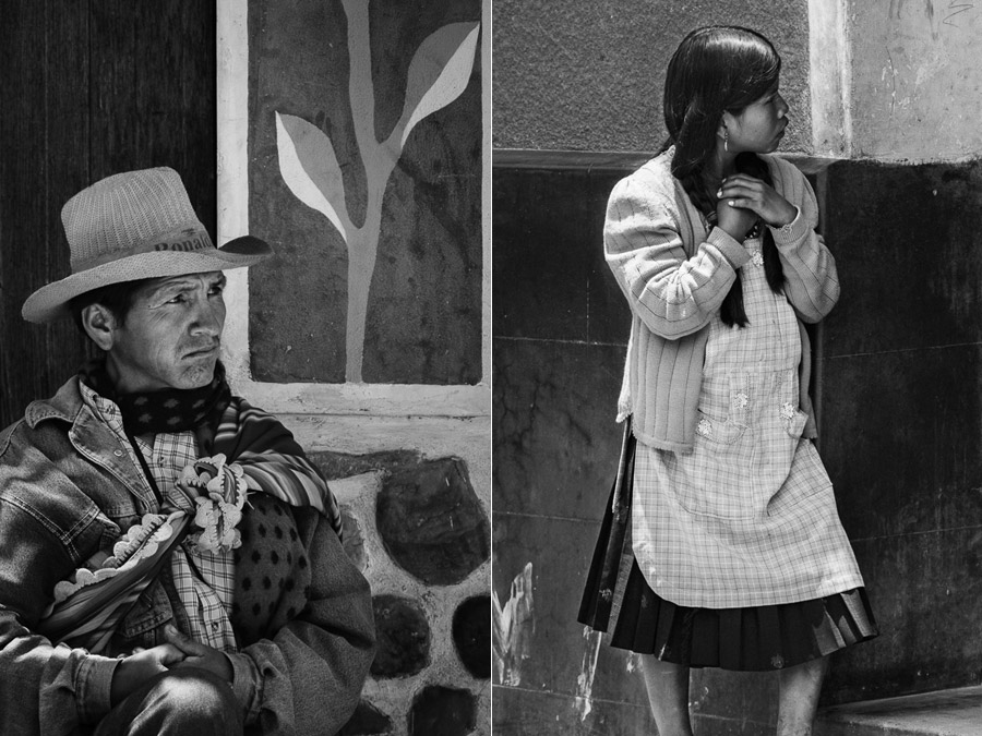 Candid black and white portraits taken in Tarabuco, Bolivia with Sigma telephoto lens