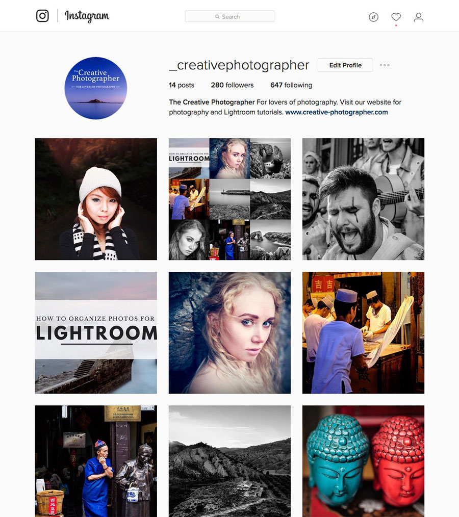 The Creative Photographer Instagram page