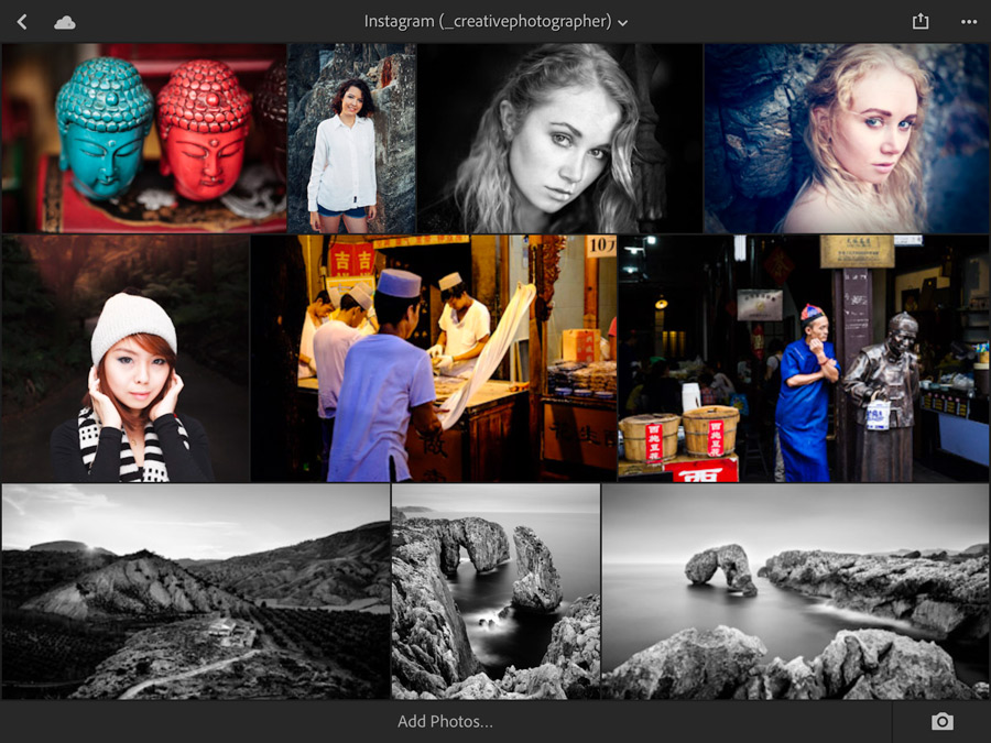 Screenshot from Lightroom mobile showing photos in a synchronized Collection