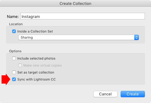 Create Collection window