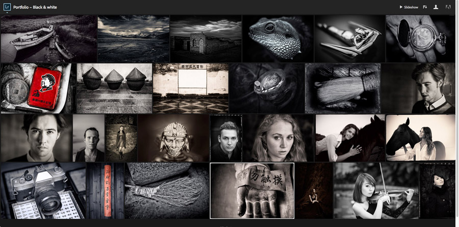 A Collection of photos viewed in Lightroom web