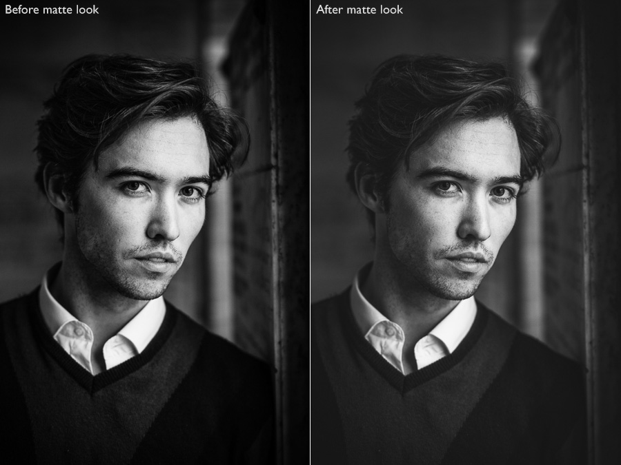 Before and after portraits showing the black and white matte look created in Lightroom