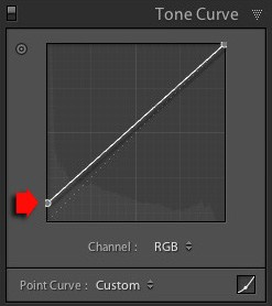 Creating the matte look with the Tone Curve in Lightroom