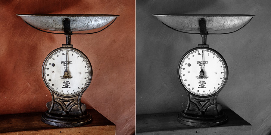 Color and black and white photos of vintage kitchen scales