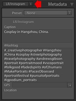 Lightroom metadata panel showing LR\Instagram plugin options