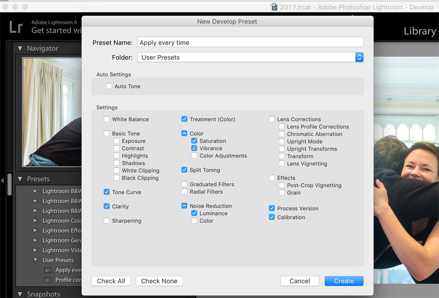 Screenshot showing how to create a Lightroom Develop Preset as part of a Lightroom workflow
