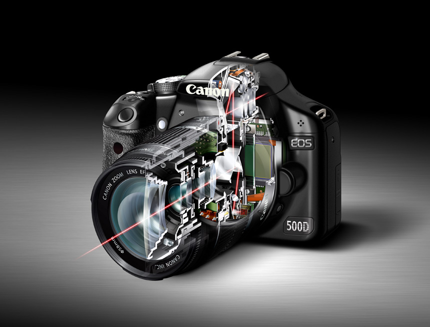 Cut away image of digital SLR camera showing path of light through body and autofocus sensor