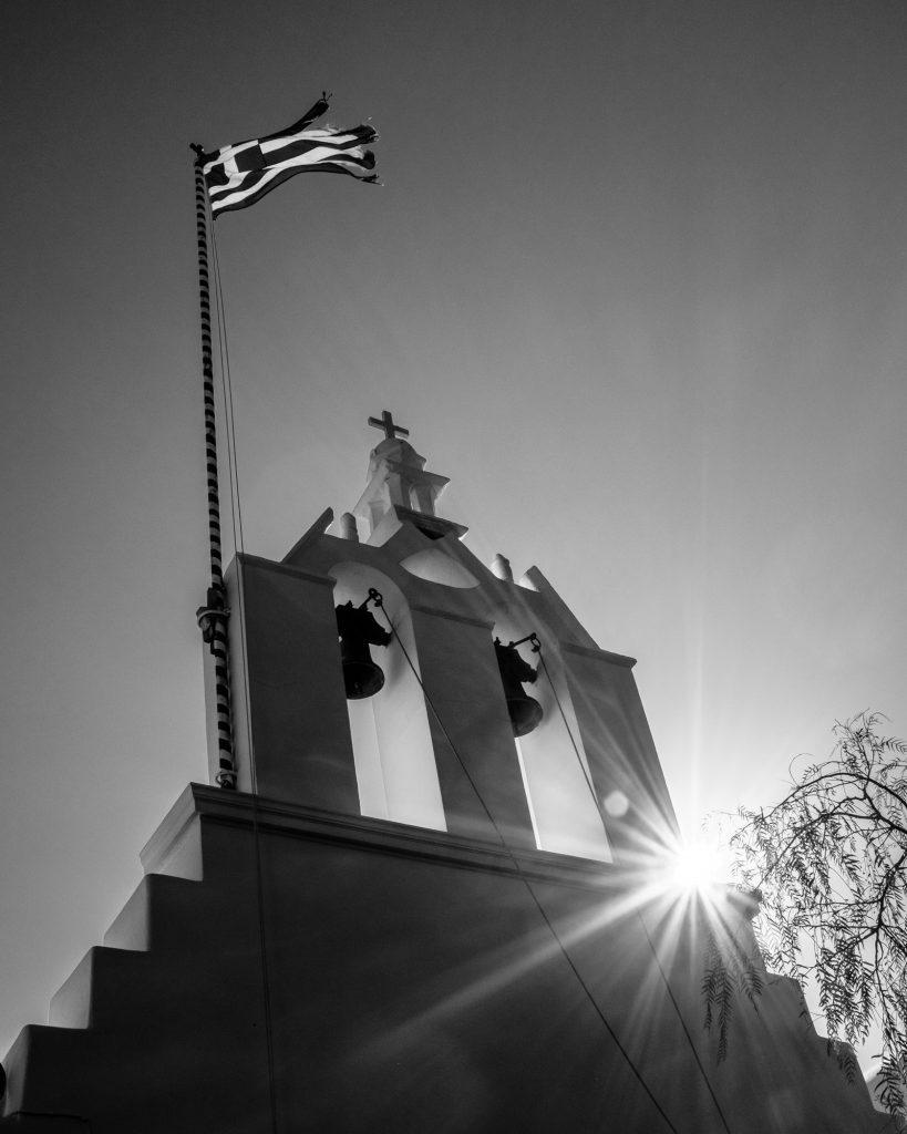 Church and Flag, Folegandros, Greece