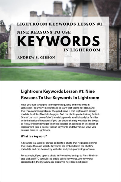 Lightroom Keyword Lesson 1
