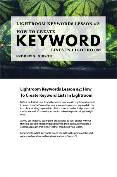 Lightroom keywords lesson 2