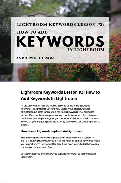 Lightroom keywords lesson 3
