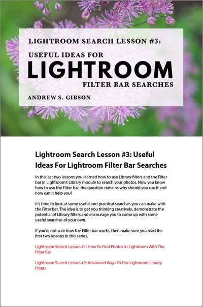 Lightroom Search Lesson 3