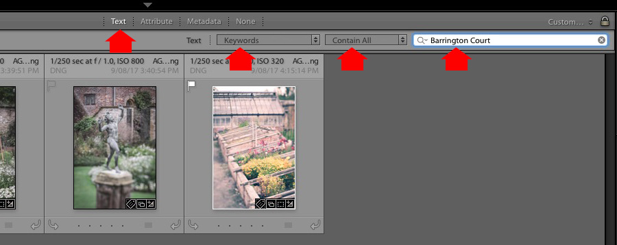 Keyword List panel Lightroom