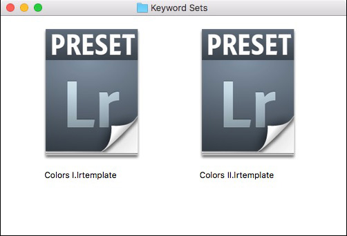 Keyword Sets Lightroom