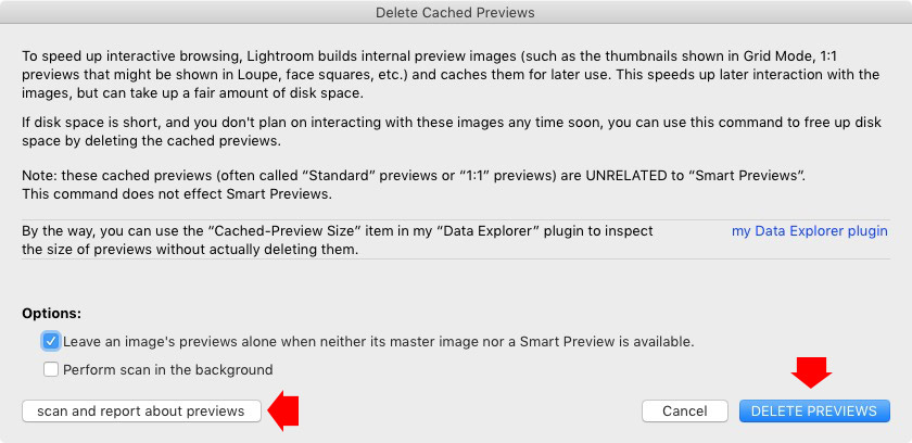 Lightroom previews and hard drive space