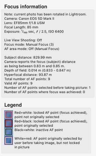 Show Focus Points Lightroom plugin