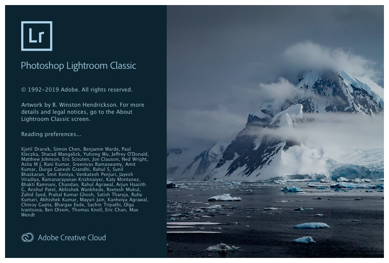 Lightroom Classic splash screen