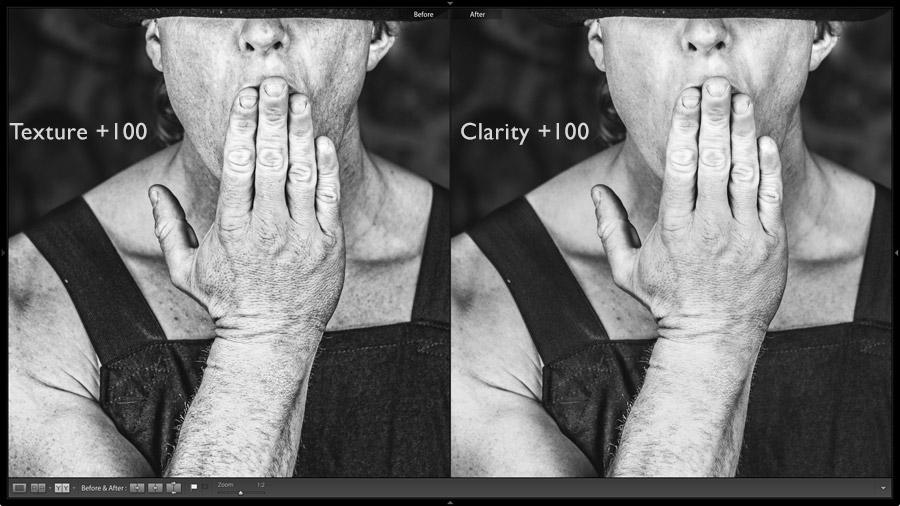 Lightroom texture slider portrait photo demo