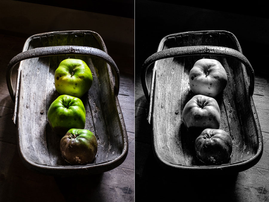 Apples against dark background